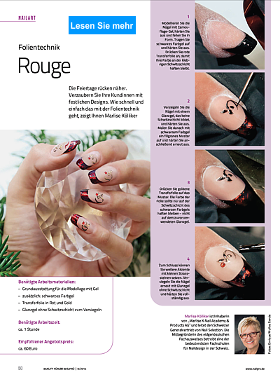 Nailart Step by Step Folientechnik Rouge